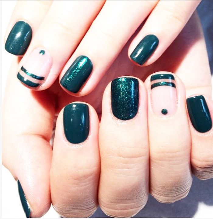 Green nail art with stripes and dots at Live True London Vauxhall and Nine Elms