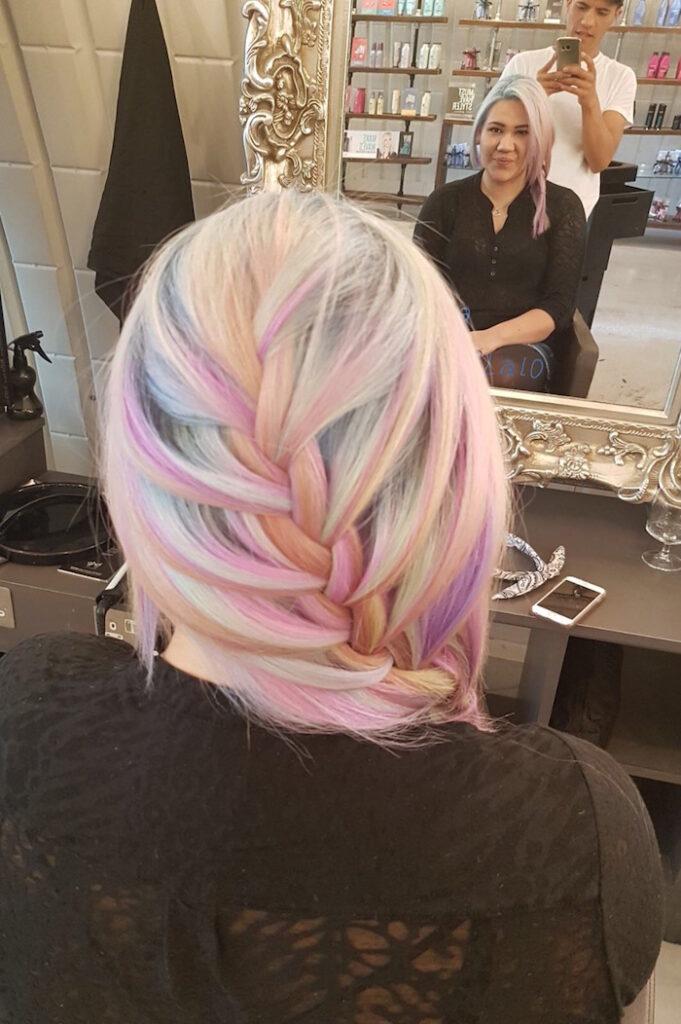 Pastel braid at Live True London Clapham hair salon