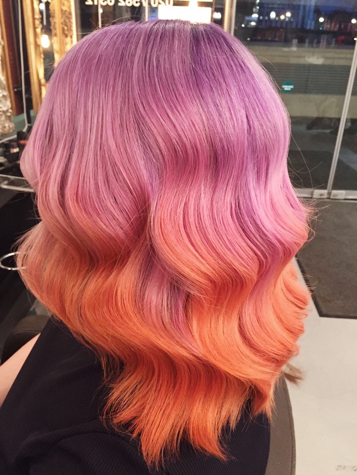 Purple hair to peach hair as an ombre at London salon in Vauxhall and Nine Elms