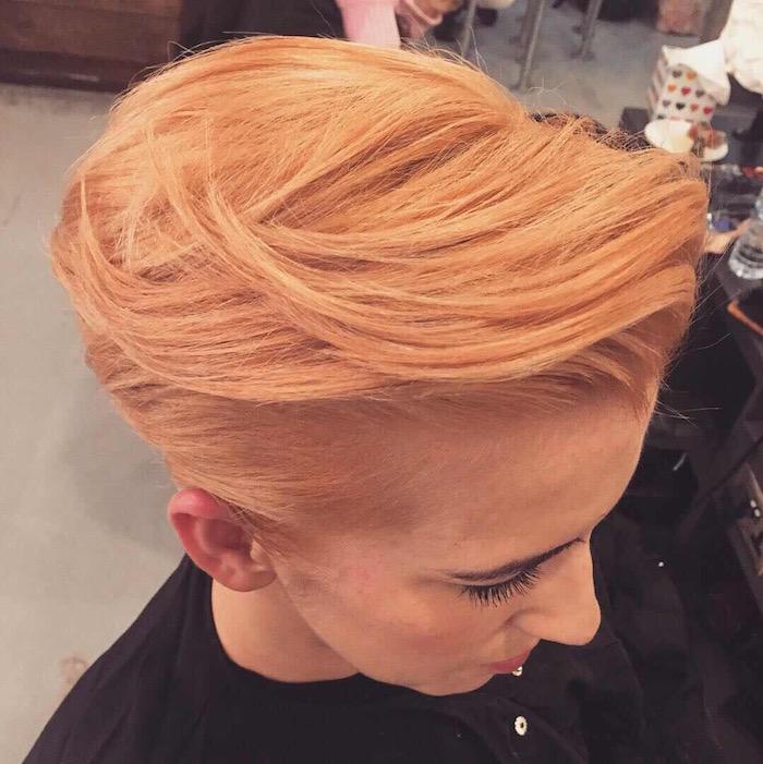 Orangy peach short hair in a London salon