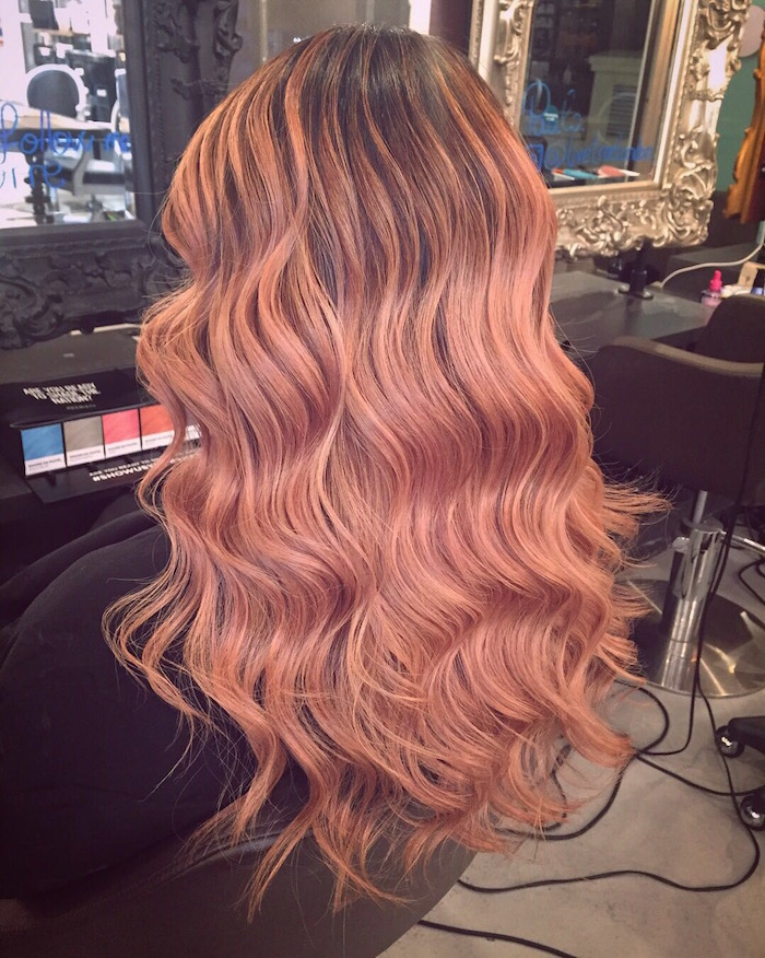 Rose brown hair with waves at Vauxhall and Nine Elms hair and beauty salon