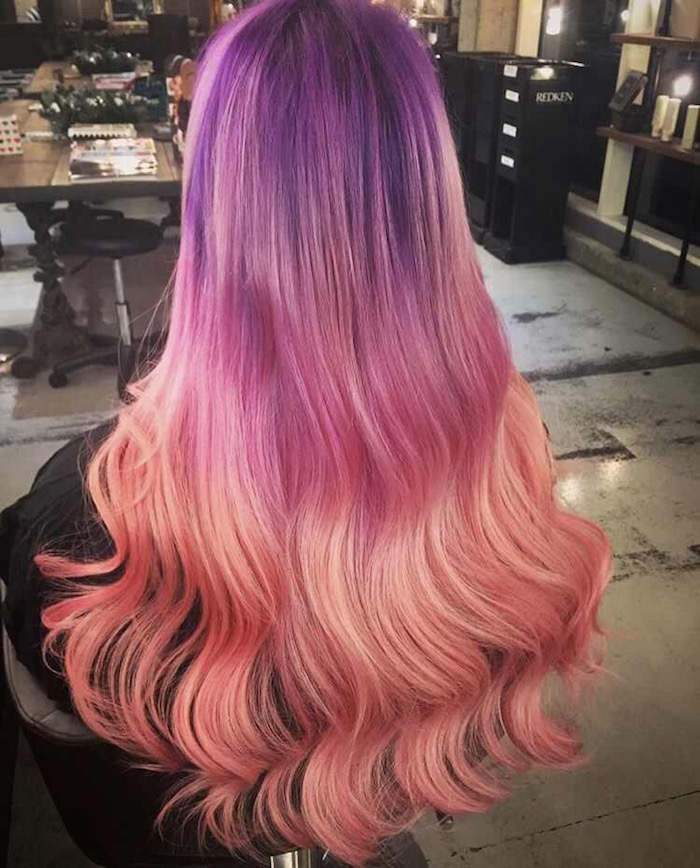 Deep purple hair to pink hair to peach hair at modern London salon in Vauxhall and Nine Elms