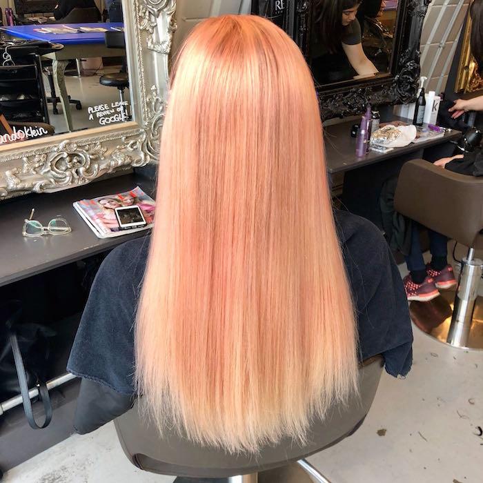 Long straight peach hair at top london salon in Clapham London