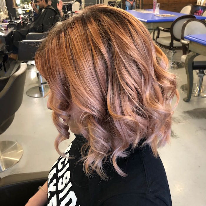 Rose brown hair colour with soft waves at London hair salon