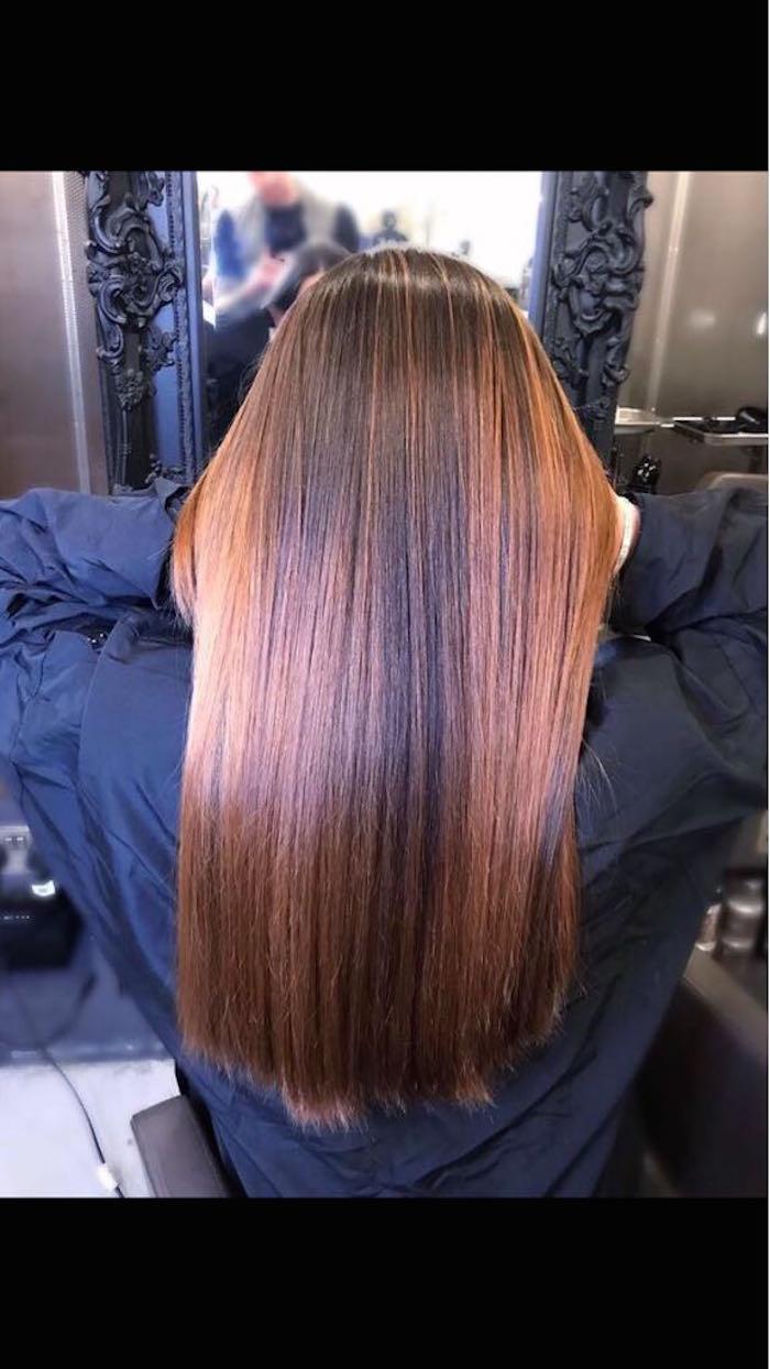 Long rose brown hair at London salon